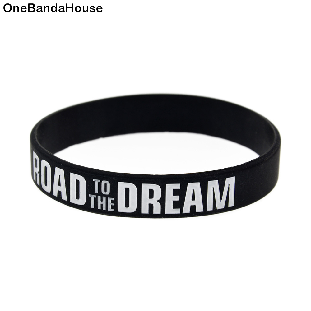 OBH 1CS 1/2 Inch Wide White And Black Road To The Dream Silicone Bracelet