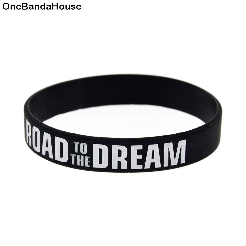 OneBandaHouse 1PC 1/2 pouce de large route au rêve Bracelet en Silicone de mode taille adulte