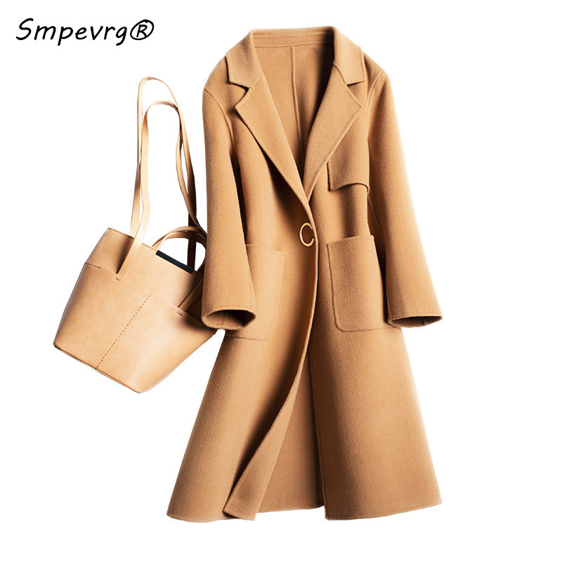 Smpevrg pure wool coat and jacket women double sided fabric turn down long sleeve coat woman long style office lady women coat
