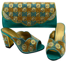 L.Blue Shoes and Bag Sets for Women Sales In Women Matching Shoes and Bag  Set Decorated with Diamonds Nigerian Shoes and Bag Set 86584ecef815