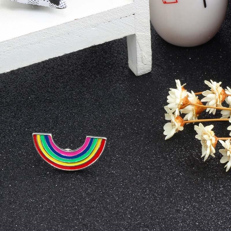 Модные Цветные эмалированные броши на булавке для женщин, мультяшная креативная мини-Радужная металлическая брошь на булавке, Джинсовая Шляпа, значок, воротник, ювелирное изделие - Окраска металла: Small Rainbow