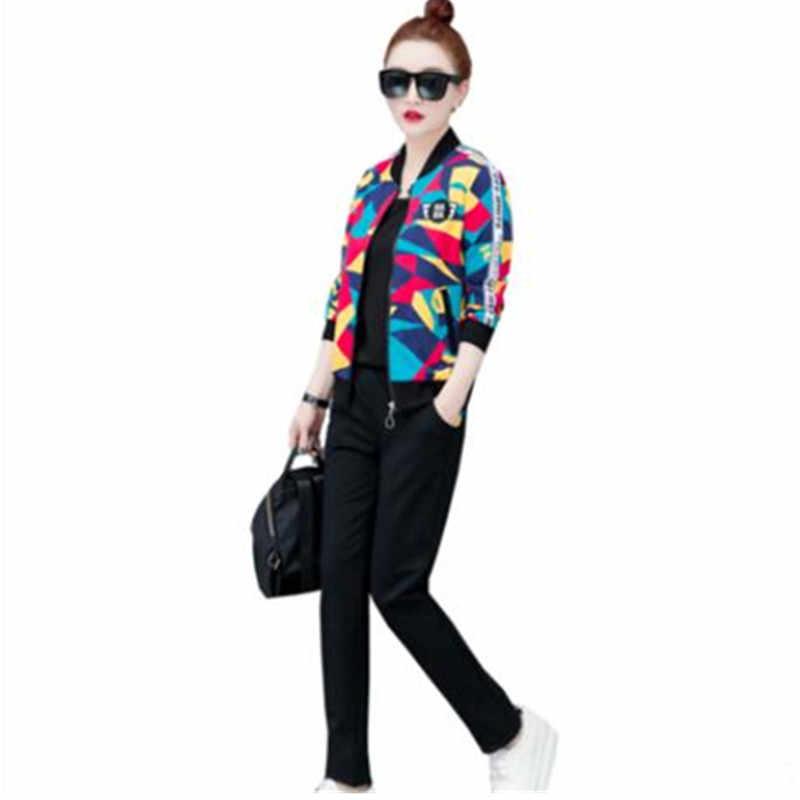 Для отдыха Штаны спортивные костюмы весна 2019 новый большой Размер 3 1 предмет Женская мода молодежная одежда для женщин Спортивная одежда для бега