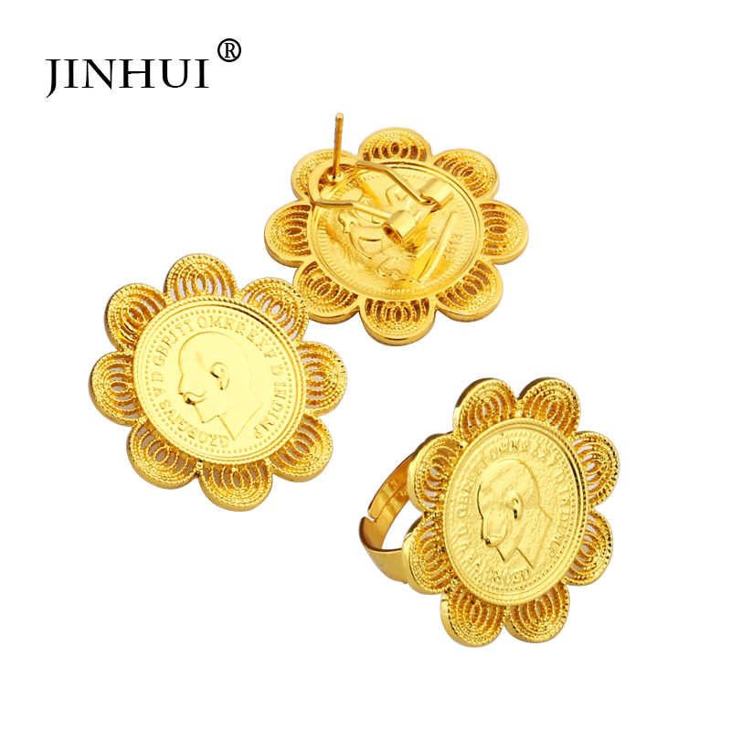 Jin Hui 2019 etíopes conjuntos grandes de joyas colgante de la moneda de anillo de pendiente de collar de oro regalos para mujeres estilo africano Eritrea Habesha joyería