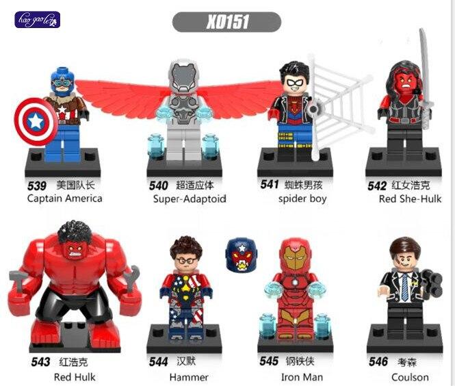 HAOGAOLE 320PCS X0151 Super Heroes Captain American Super-Adaptoid Spider Boy Red She-hulk Hammer Iron Blocks Kids Toys