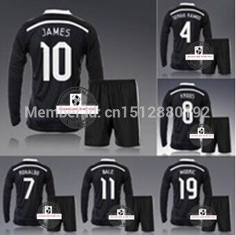 dd52e75c3d Madrid preto de manga longa e cheia Ronaldo Bale James futebol Kit conjunto  de Jersey &