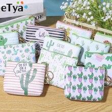 ETya, женские кошельки из искусственной кожи, маленький кошелек с принтом кактуса, Дамский кошелек для мелочи, маленькая сумочка на молнии для девочек, держатель для ключей, сумка для монет