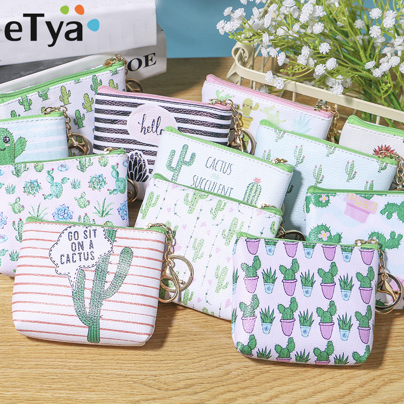 eTya Pu Leather Coin Purses Women Small Wallet Cactus Print Ladies Change Purse Child Girl Mini Zipper Pouch Key Holder Coin Bag aoeo plaid women purse small wallets mini bag soft leather double photo holder zipper coin purses ladies slim wallet female girl