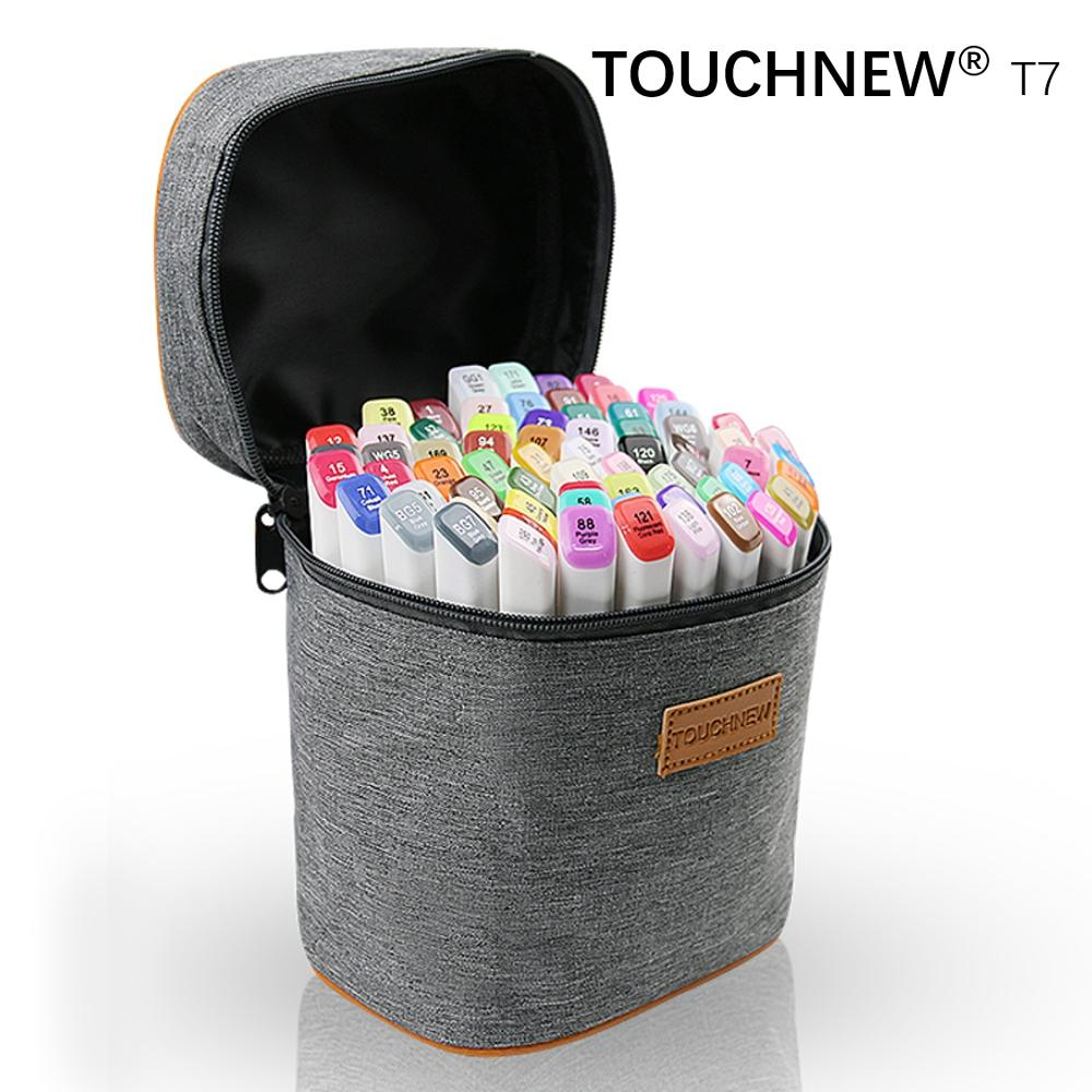 TOUCHNEW T7 60/80 colors dual tips  sketch markers grey bag for drawing painting design manga art supplies touchnew t6 60 80 colors dual tip black barrel sketch markers camouflage bag for drawing painting design manga copic