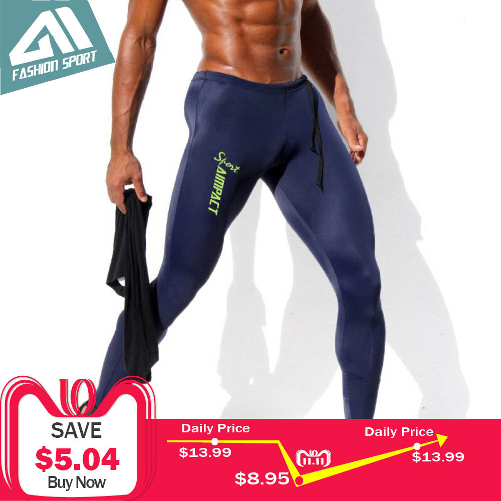 Aimpact Skinny Men's Sport Pants Athletic Slim Fitted Running Men's Pants Sexy Gym Tight Sweatpants Crossfit Workout Pants AM18 cut and sew skinny sweatpants