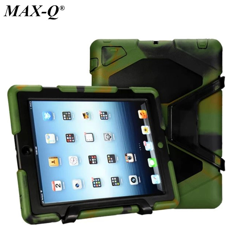 MAX-Q Silicone Military  Heavy Duty Waterproof Dust/Shock Proof Cover Case For iPad 2 3 4,For ipad234 Free Shipping ip68 underwater waterproof case for iphone 7 6s 6 dirt dust snow proof cover pink