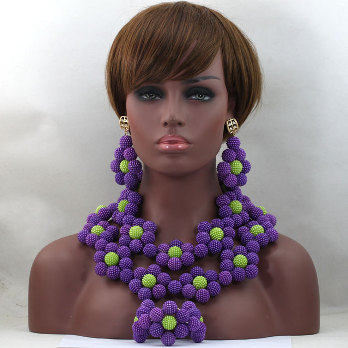 Romantic  Beads Jewelry Set Huge Flowers Balls Nigerian Wedding Party Women Christmas Gift Necklace Sets Free Shipping ABL505