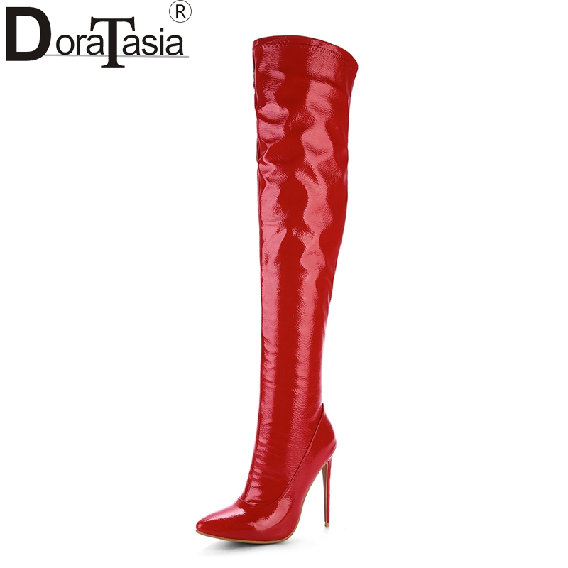 DoraTasia 2017 Plus Size 33-48 Customized Pointed Toe Women Shoes Sexy Thin High Heel Party Wedding Shoe Winter Long Boots karinluna 2017 plus size 33 43 customized black women shoes sexy thin high heel party wedding shoe winter long boots