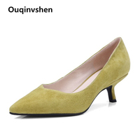Ouqinvshen Slip On Shallow Office Shoes Women Concise Kid Suede Elegant Autumn Spring Yellow Shoes Pointed Toe High Heel Pumps