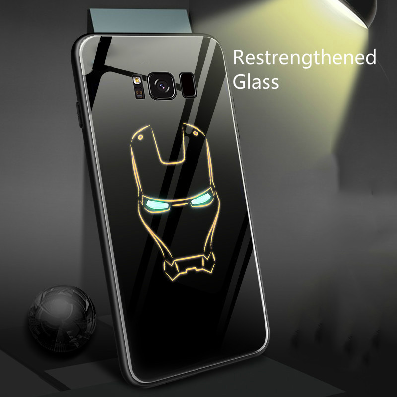 Marvel homem de ferro batman caixa de telefone vidro luminoso para samsung galaxy s10 e 5g s9 s8 s7 nota 8 9 10 plus pantera preta capa coque