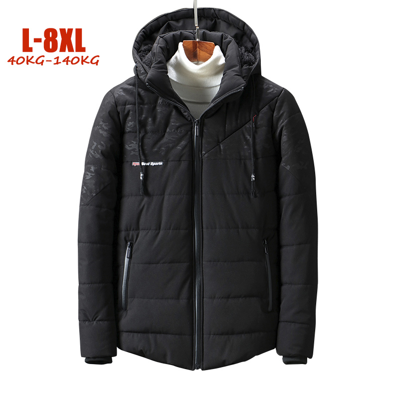 2018 New Plus Size L- 8XL Winter   Parka   Men Hood Loose Warm Fleece Men Jackets Polyester Big size Men Winter jackets Coats
