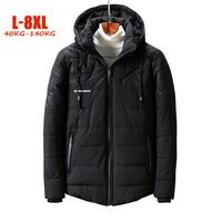 2018 New Plus Size L 8XL Winter Parka Men Hood Loose Warm Fleece Men Jackets Polyester Big size Men Winter jackets Coats