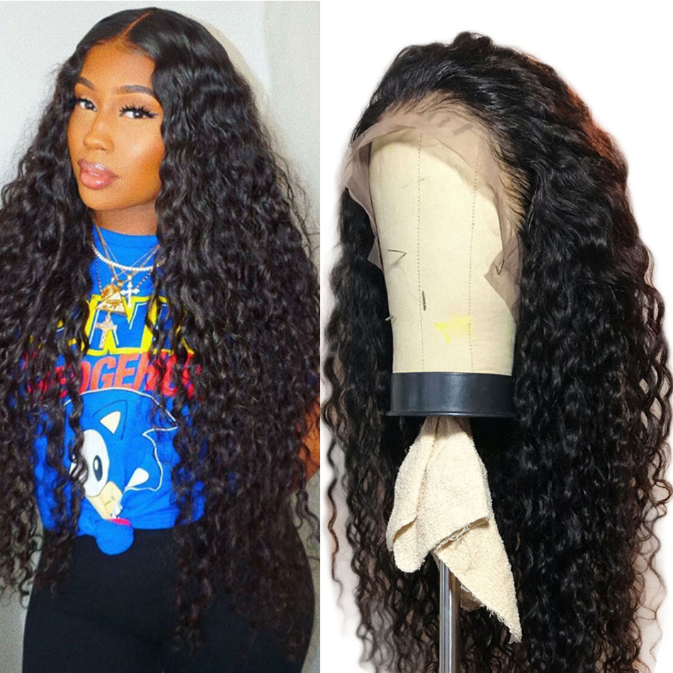 ALIBELE HAIR brazilian water wave lace front wig with baby hair 150 pre plucked 13x4 lace