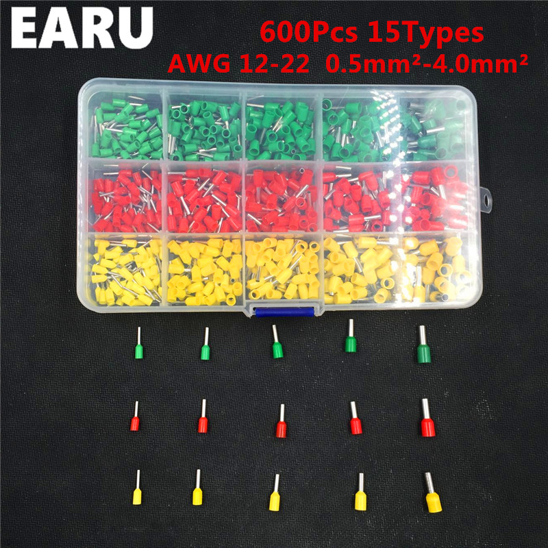 600pcs/lot 3 Colors 15 Types Tube insulating Terminals Connector CrimP Cord Pin End Cable Wire Bootlace Ferrules Kit 22~12AWG 100pcs lot e7508 20awg 0 75mm2 bootlace cooper ferrules kit set wire copper crimp connector insulated cord pin end terminal