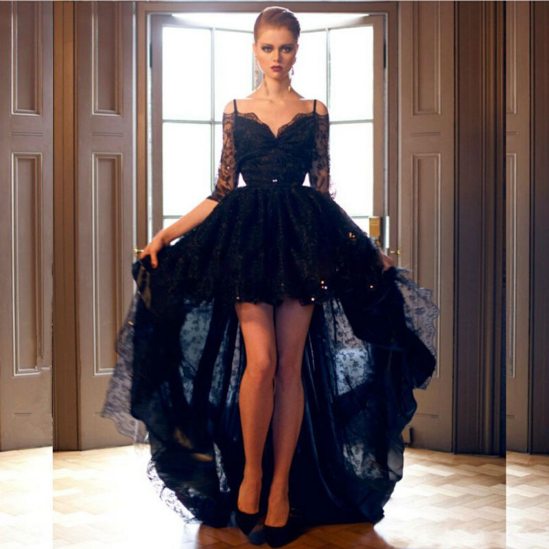 5686b9f7519 2016 Short Front Long Back Black Lace High Low Prom Dress with Sequins Mid  Sleeves Spaghetti Straps