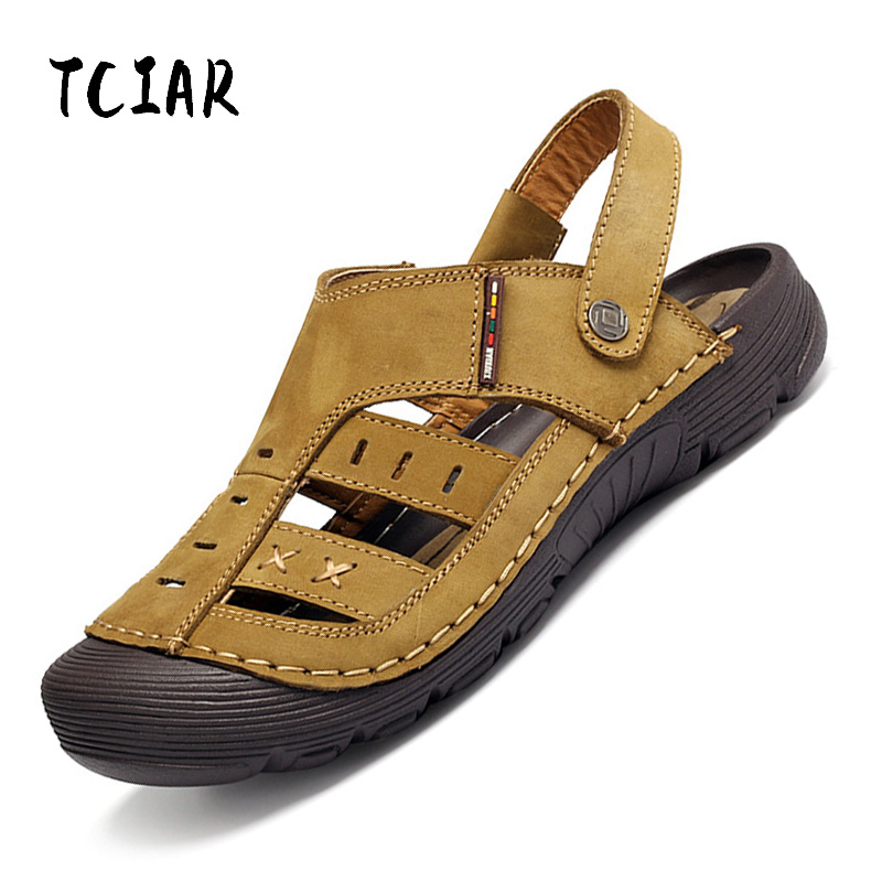 Mens Genuine Leather Sandals Waterproof Summer Casual Outdoor Beach Shoes Protect Toecap Soft Comfortable Rubber Sole DS011