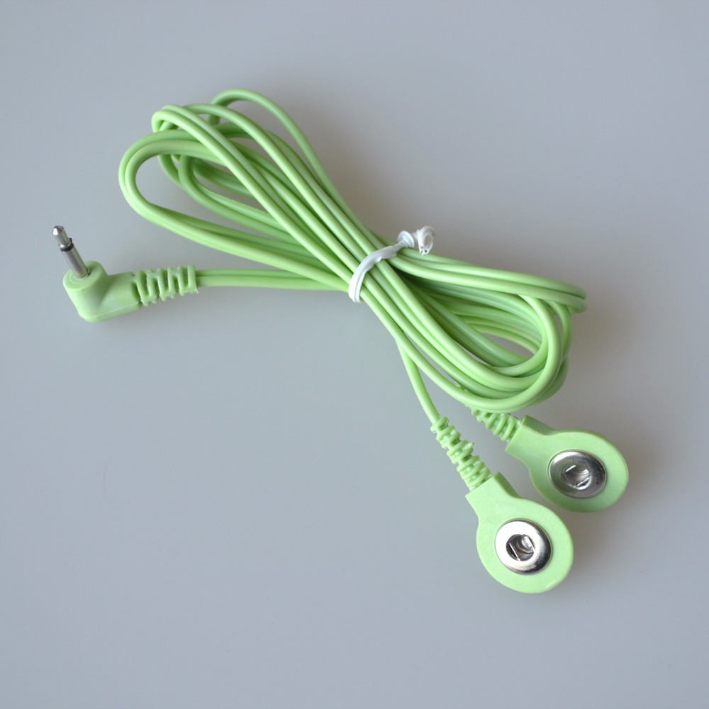 10Pcs/Lot 2.5MM 2 in 1 Head Electrode Wires Connecting Cables For Digital TENS  Machine Massager Color Green