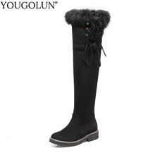 Thigh High Snow Boots Women Winter Low Heels A283 Fur Style Warm Shoes Woman Black Brown Red Gray Cross Strap Over Knee Boots недорого