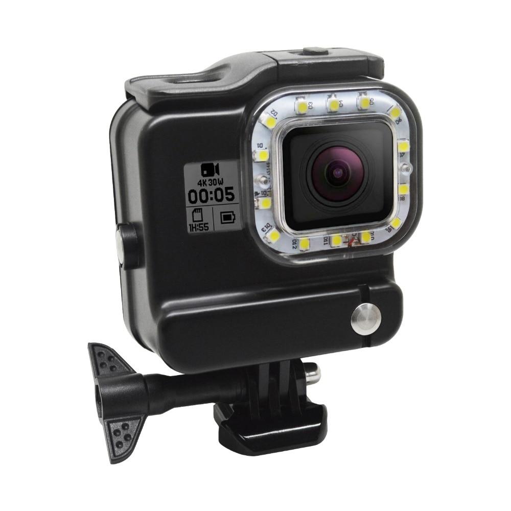 30M lumière de plongée sous-marine LED lampe de poche de remplissage vidéo et couvercle de boîtier étanche pour Gopro Hero 5 6 caméra de Sport noire