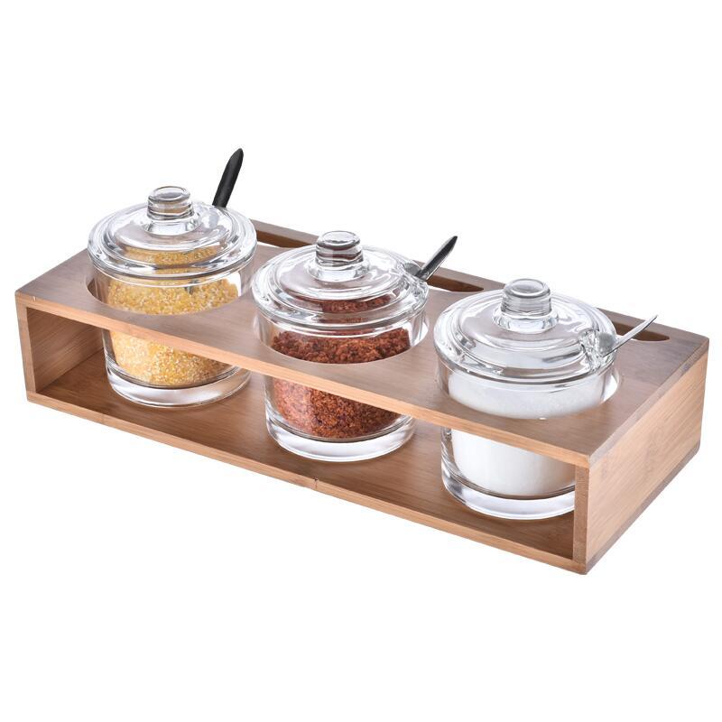 Accueil fournitures cuisine assaisonnement outils verre assaisonnement bouteille ensemble sel sucre assaisonnement boîte épices pot ustensiles de cuisine accessoires