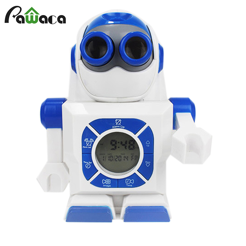 Creative LED Projector Alarm Clock Robot Snooze Alarm Clock Home Decor Digital LED Display Clock For Kids Children Gift