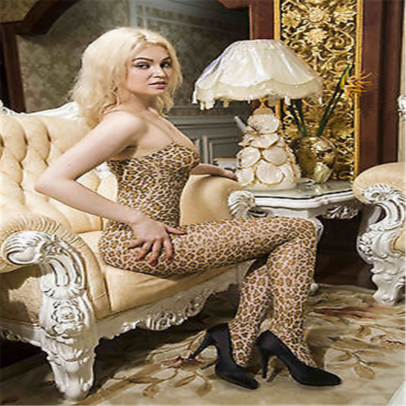 2017 Sex Suspender Leopard  Body Stocking Sexy Lingerie Nets Clothings Sex Costumes Mesh Fishnet Open Crotch Bodystocking