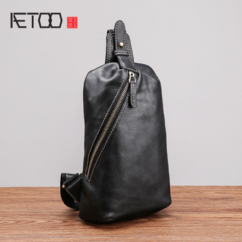 AETOO Chest bag male leather soft new single shoulder vintage casual head layer cowhide mens chest Bag