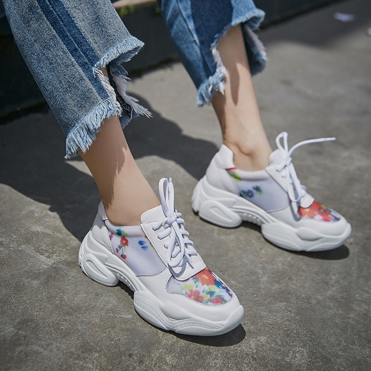 Women Casual Shoes high quality Genuine Leather Comfortable breathable Platform Women's Chunky Sneakers Ladies Trainers