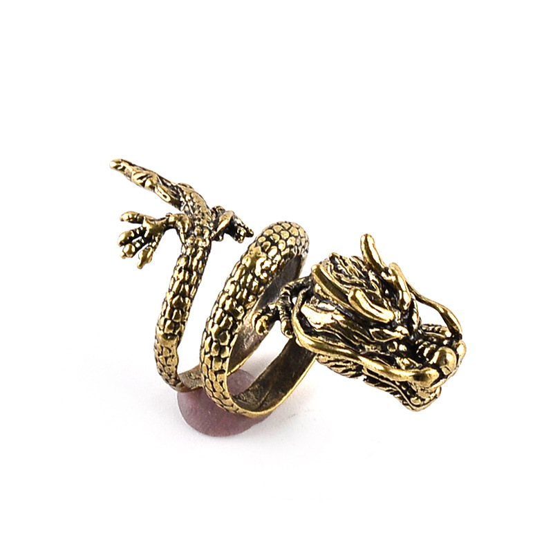 Fashion Gold Men Ring  Exaggerated Spirit Dragon Ring Personality Adjustable Split Ring Punk Hip Hop Male Female Jewelry Gift