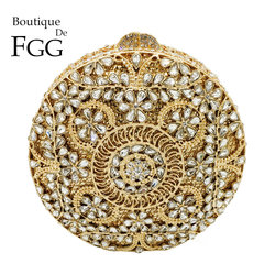 Boutique De FGG Vintage Retro Round Circular Hollow Out Women Crystal Clutch Evening Minaudiere Bag Wedding Handbag Bridal Purse