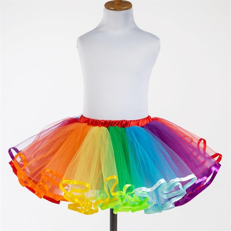 0c8b68d8b 2019 moda verano otoño estilo caliente niños coloridos faldas tutú Arco  Iris princesa malla tul ...