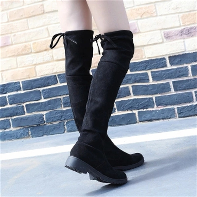 4a47f56082a6 2019 Black Pointed Toe Women Thigh High Long Boots Back Lace Up Brand  Designer Over The