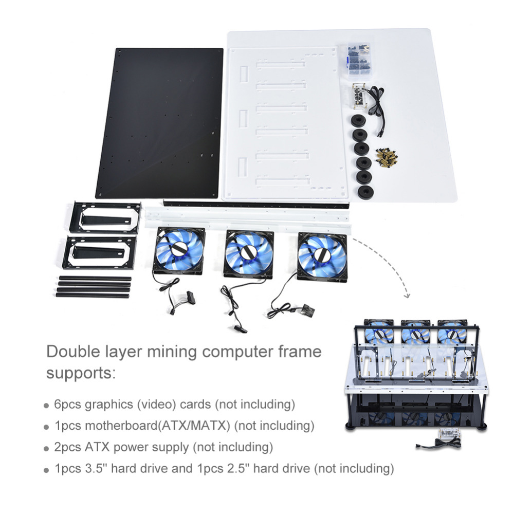 Double Layer Open Air for BTC Mining Case Computer Frame 8 Graphics Card GPU with Anti-static Switch Cooling Fan Computers Cases