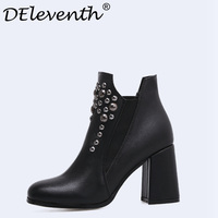 Winter Autumn Ankle Boots Round Toe Rivets Women Thick Square Heel Martin Boots Ladies Worker Womens