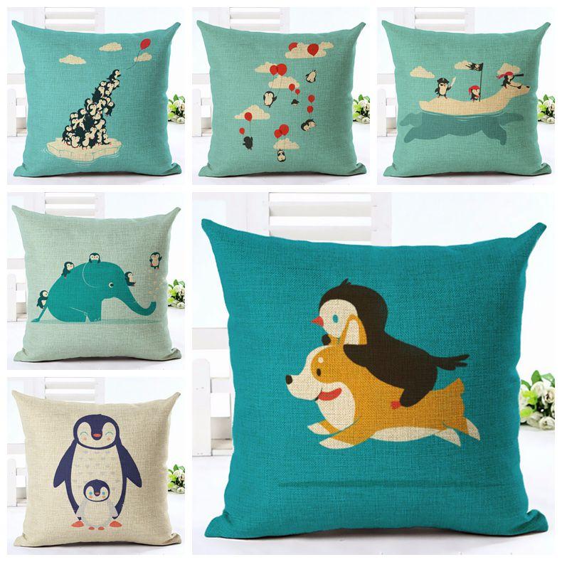 Cute Kids Cartoon Cushion Cover Kawaii Penguin Chair Couch