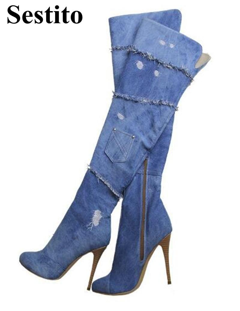 European Fashion Denim Woman Long Boots Round Toe Super High Heel Knee-High Boots Thin Heels Zip Solid Fringe Boots Shoes white high heel knee high long boots for woman ladies solid super high chunky heel half boots round toe fashion boots dress shoe