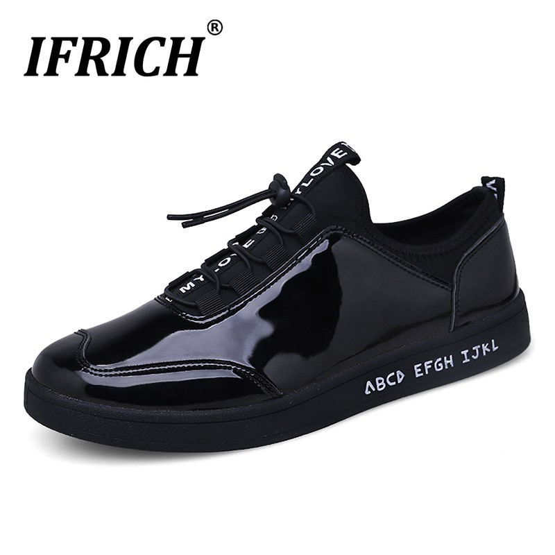 Best Selling Casual Shoes For Youth Black Walking Shoes Men Patent Leather Designer Men Shoes Fashion Flats Sneakers Cheap