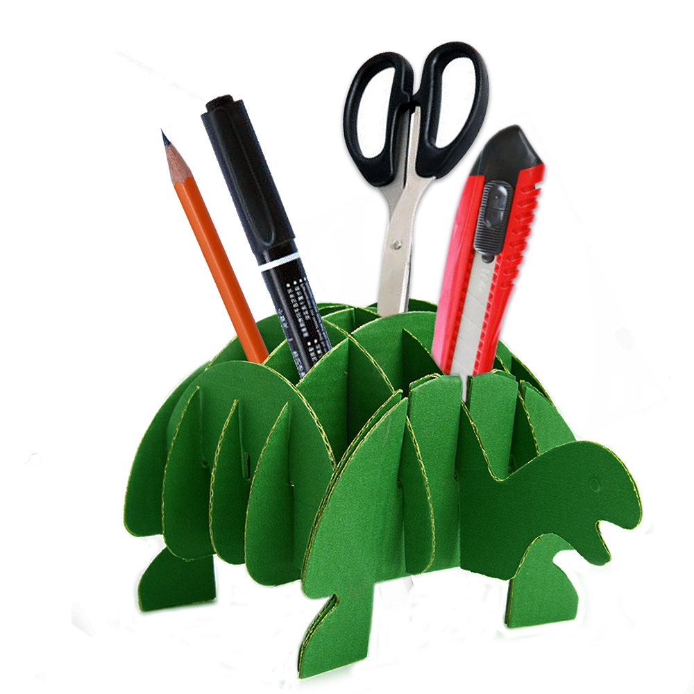3d Jigsaw Puzzle Turtle DIY Cute Pen Holder for Desk Stationery Organizer Unique Cardboard Animal Office Supplies Gift Kids Toy