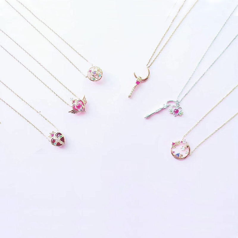 Sailor Moon 925 Silver Jewelry Necklace Cosmic Heart Moon Stick Crystal Star Necklace