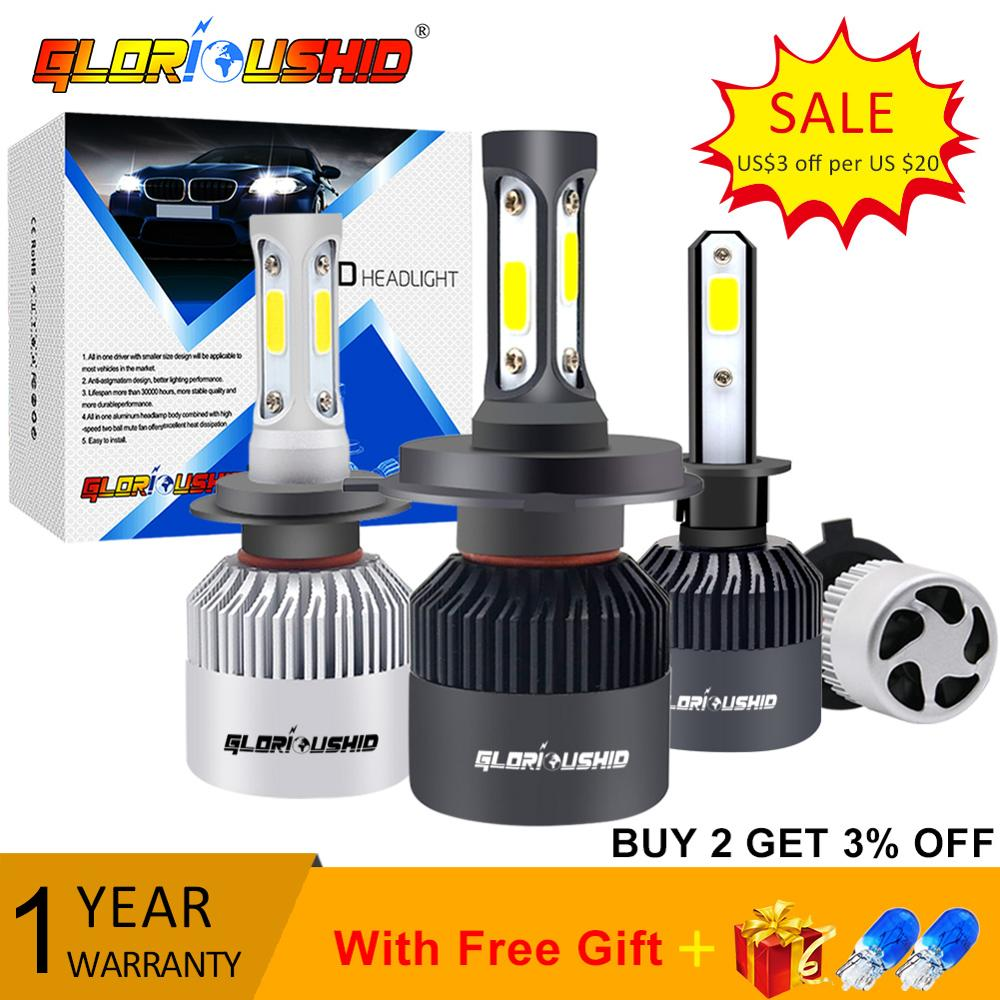 2Pcs H1 LED H11 H7 H4 H3 HB4 HB3 H8 H27 9005 9006 Auto Car Headlight Bulbs 72W 8000LM car light 6000k led automotivo DC12V 24V
