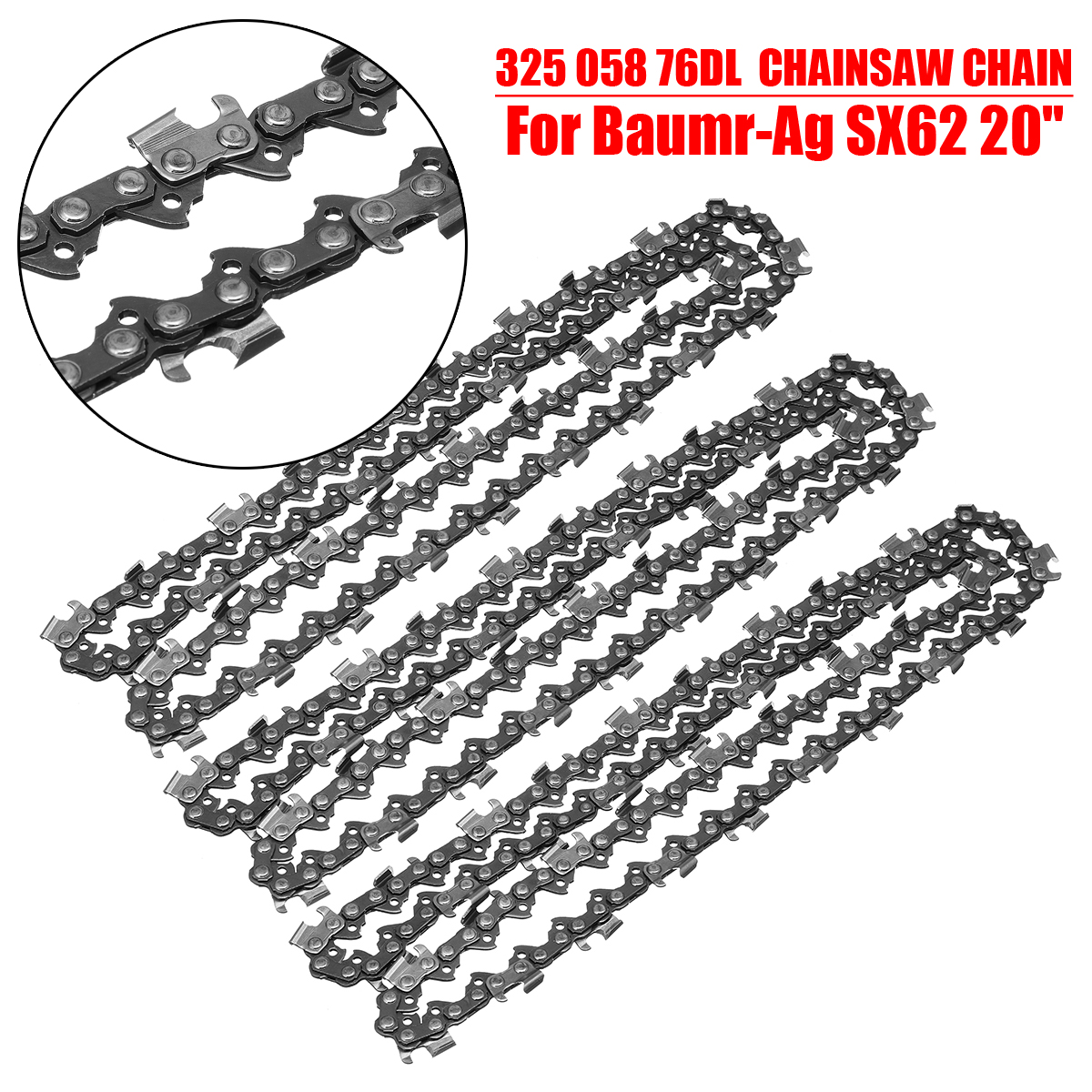 3pcs 20'' 325 058 76DL Chainsaw Chain Saw Replaces For Baumr-Ag SX62 Electrical Tools Accessories