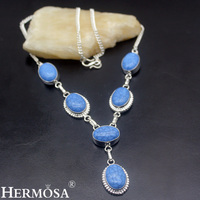 Hermosa Jewelry Classic Fashion HOWLITE 925 Sterling Silver Women Necklace 19 inches HM1006