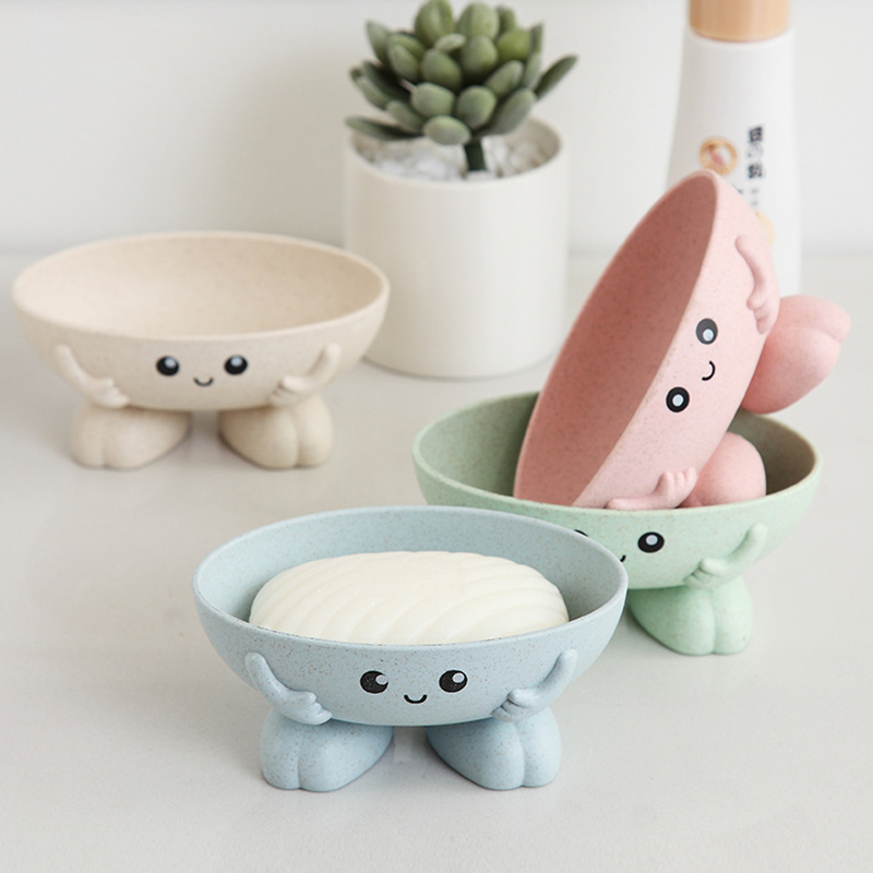 Soap Dish Bathroom Cartoon Shape Soap Box Draining Practical Easy Clean Kitchen Cleaning  Soaps Drain Dish Box Children's Toy