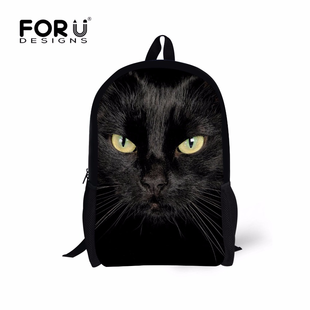 FORUDESIGNS Fashion Black Cat School Bags for Teenagers Boys Children Animal Schoolbag Middle Students Bookbags Kids Mochilas