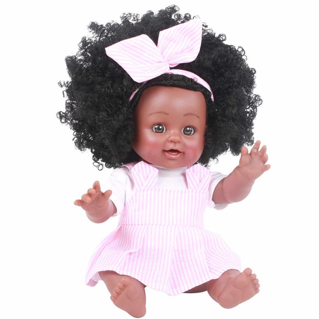 HIINST девочка детская африканская темнокожая девушка реалистичные 35 см куклы детские игрушки для детей Дети Девочки Мальчики Младенцы тело играть виниловые куклы