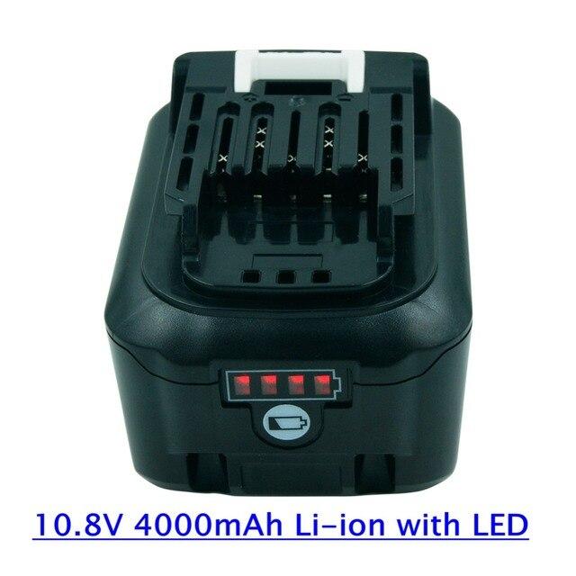 Со светодиодным беспроводным электроинструментом, сменная перезаряжаемая батарея 10,8 В 4.0Ah, литиевая для дрелей Makita BL1040 BL1015 BL1020B BL1041